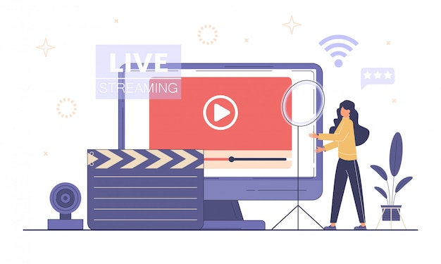 Streaming live, concetto di trasmissione. blog di podcast video.