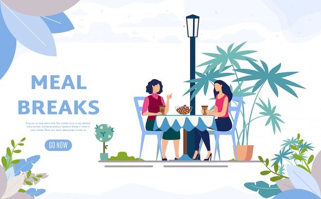 Street cafe, banner web piatta per la caffetteria