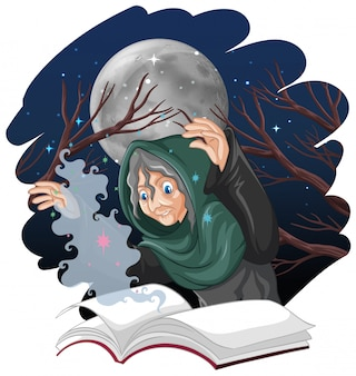 Strega anziana con incantesimo e libro stile cartoon isolato su sfondo bianco