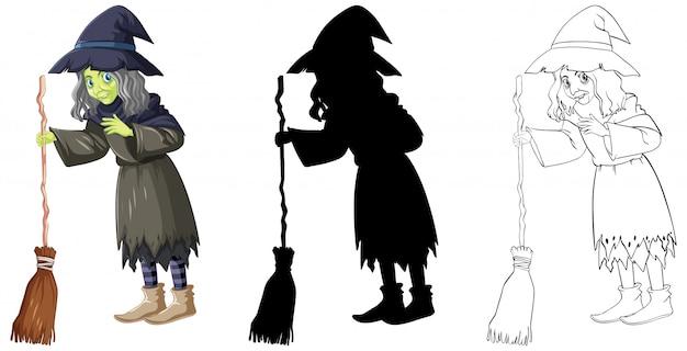 Strega con il manico di scopa a colori e contorno e silhouette personaggio dei cartoni animati isolato su sfondo bianco