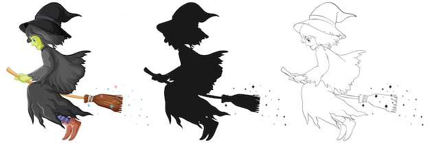 Strega con manico di scopa a colori e contorno e silhouette personaggio dei cartoni animati isolato