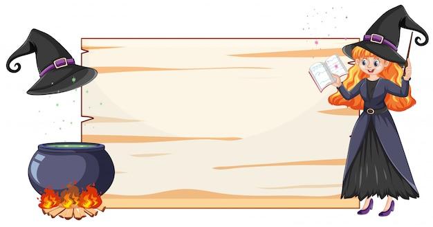 Strega con vaso magico nero e manico di scopa e stile del fumetto di carta banner bianco isolato su priorità bassa bianca