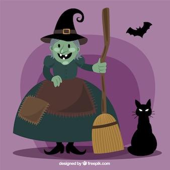 Strega del fumetto con il gatto e pipistrelli