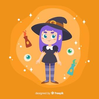 Strega di halloween carino con gatto nero