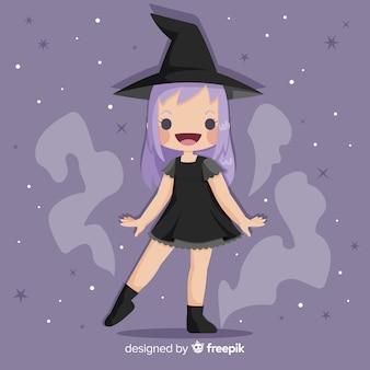 Strega di halloween carino con i capelli viola