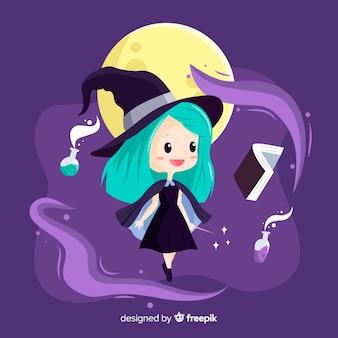 Strega di halloween carino con incantesimo
