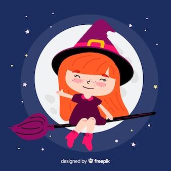 Strega di halloween carino con la luna piena