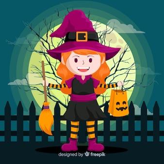 Strega di halloween carino con la scopa