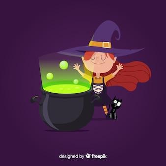 Strega di halloween carino con pentola di strega