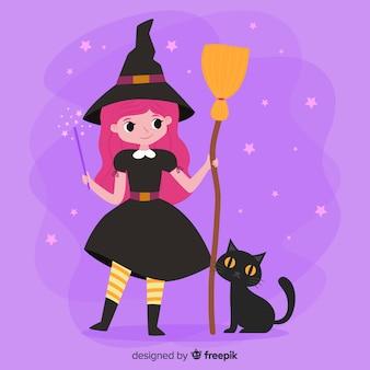 Strega di halloween carino con scopa e gatto