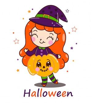 Strega di halloween carino con zucca.
