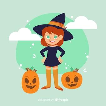 Strega di halloween carino con zucche