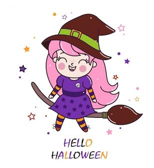 Strega di halloween carino sul manico di scopa.