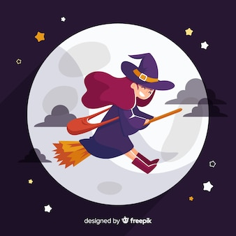 Strega di halloween carino sulla scopa