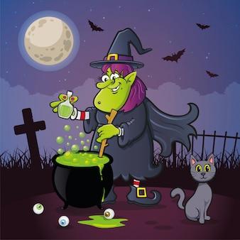 Strega di halloween con calderone