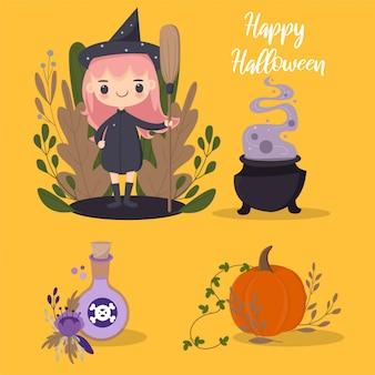 Strega di halloween ed elementi vettoriali carino