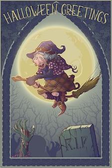 Strega di halloween in sella alla scopa attraverso la foresta illuminata dalla luna sopra il cimitero.