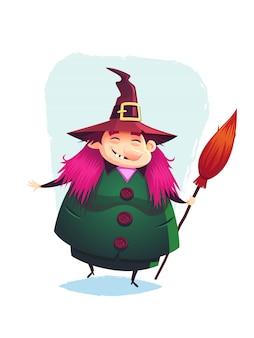 Strega divertente sorridente con una scopa illustrazione di halloween del fumetto