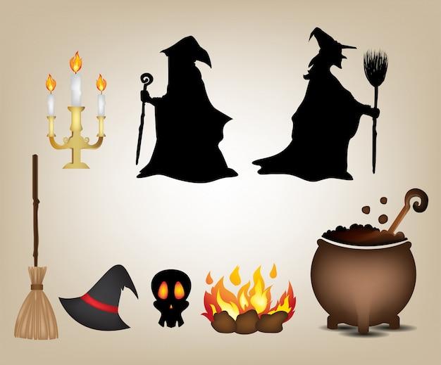 Strega impostata per oggetto giorno di halloween