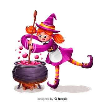 Strega sveglia di halloween che fa un incantesimo