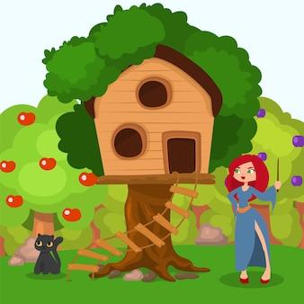 Strega vicino a casa all'albero, illustrazione del carattere del gatto nero. spettrale scena di halloween, donna con cappello vicino casa dei cartoni animati.