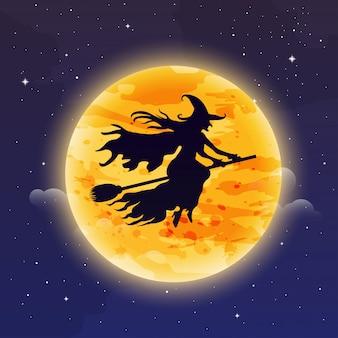 Strega vola sul manico di scopa. illustrazione di halloween silhouette di strega volare davanti alla luna.