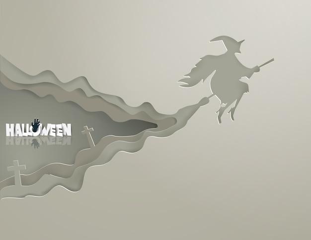 Streghe che guidano le scope sul concetto grigio di halloween del cielo