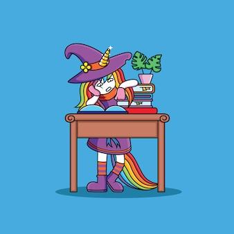Streghe unicorn stanno studiando