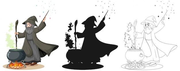 Stregone a colori e struttura e personaggio dei cartoni animati della siluetta isolato su fondo bianco