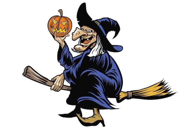 Stregone di halloween che guida la scopa volante