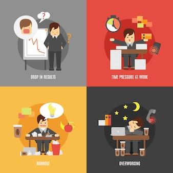 Stress al lavoro composizione di icone piane