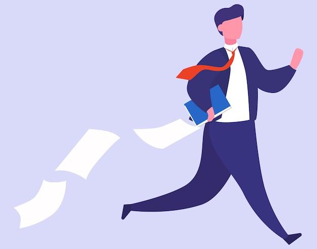 Stress sul lavoro e concetto di scadenza. idea di tanti lavori e poco tempo. impiegato in fretta. panico e stress in ufficio. persone con problemi di lavoro. illustrazione