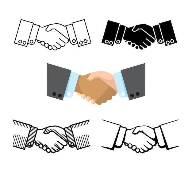 Stretta di mano, associazione di affari, icone di vettore di accordo