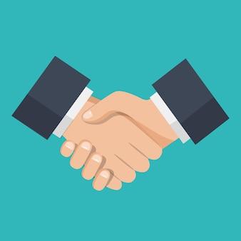 Stretta di mano di partner commerciali, icona stretta di mano