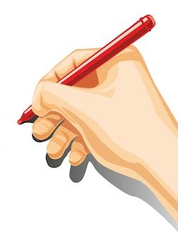 Stretta maschio della mano una matita isolata su priorità bassa bianca.