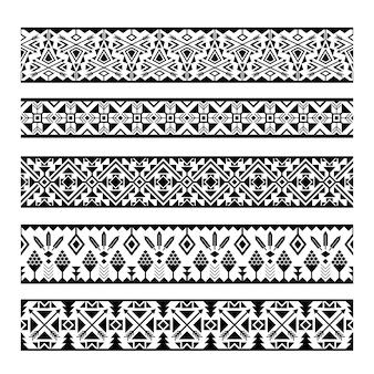Strisce di motivi etnici. confini senza cuciture geometrici messicani tribali in bianco e nero del modello