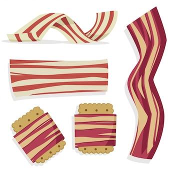 Strisce di pancetta fritte croccanti, fresche e avvolte attorno a un cracker.
