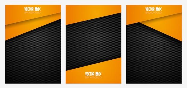 Strisce geometriche astratte su banner in fibra di carbonio, colore arancione su texture scura