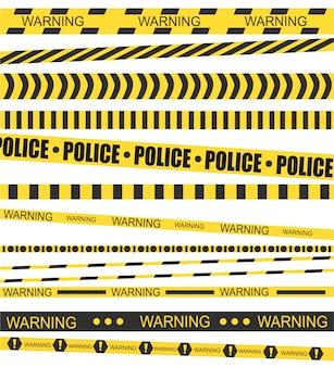 Strisce gialle nere. nastro barriera ufficiale per scena del crimine.