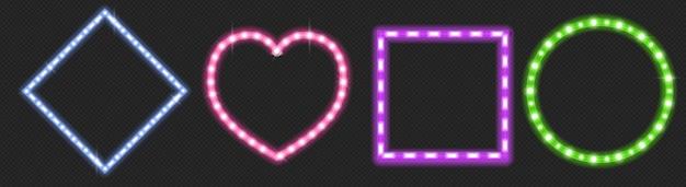 Strisce led a forma di cuore, cerchio e quadrato con effetto bagliore al neon isolato su trasparente