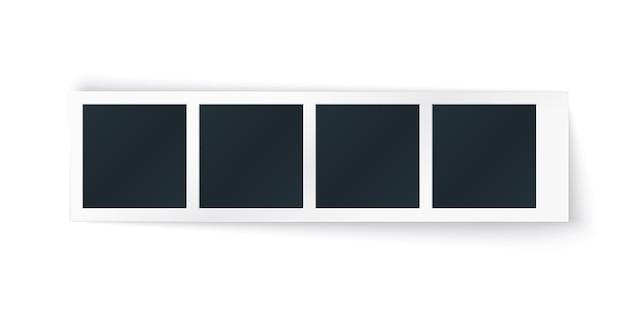Striscia di cornice per foto con posti immagine in fila. modello orizzontale per cabina fotografica, singolo oggetto vintage isolato.