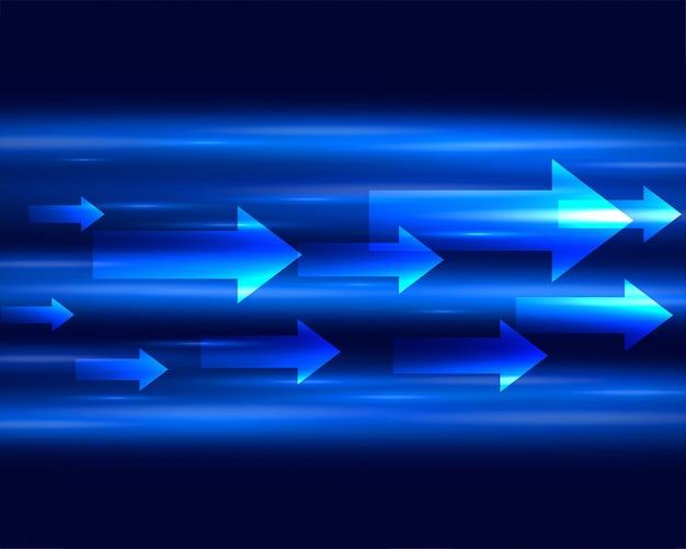 Striscia di luce blu con le frecce che si muovono in avanti sfondo