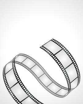 Striscia di pellicola che ondeggia sull'illustrazione bianca del fondo