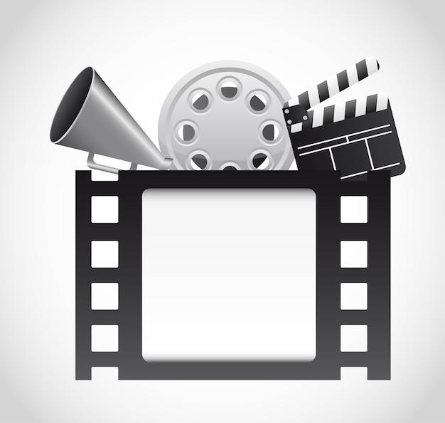 Striscia di pellicola con elementi di cinema su sfondo grigio vettoriale