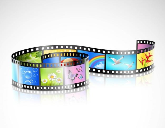 Striscia di pellicola con immagini colorate
