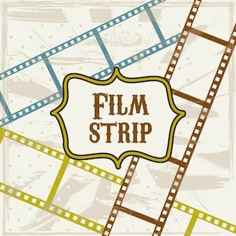 Striscia di pellicola sopra illustrazione vettoriale sfondo beige
