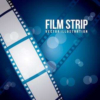 Striscia di pellicola su sfondo blu illustrazione vettoriale