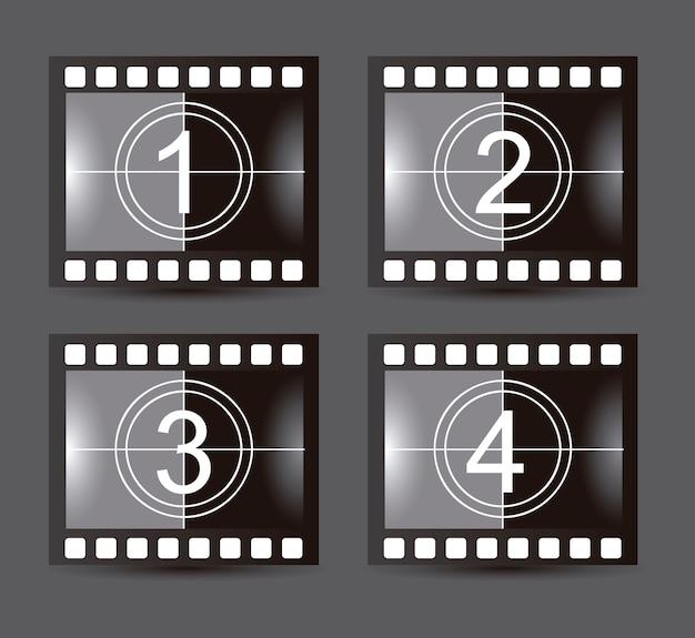 Striscia di pellicola su sfondo grigio illustrazione vettoriale