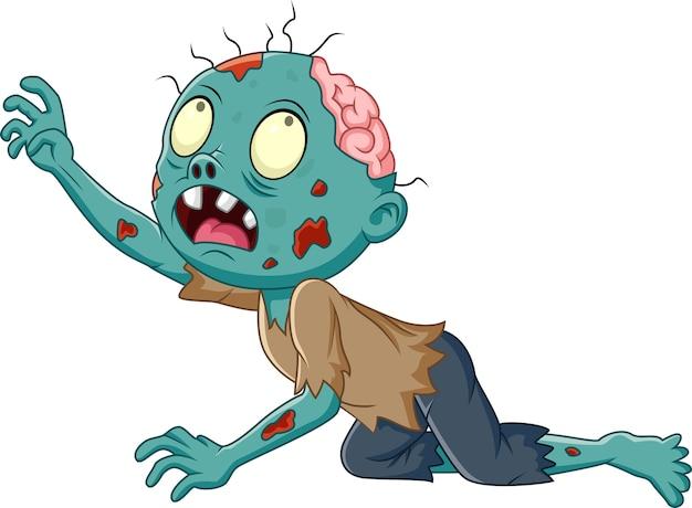 Strisciante dello zombie del fumetto isolato su fondo bianco