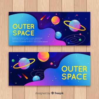 Striscione colorato nello spazio esterno